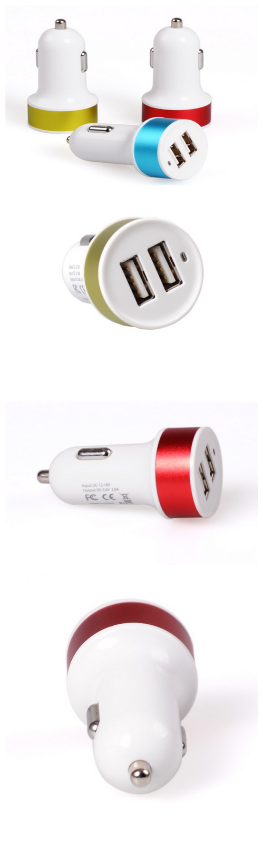 3.1A Mini Bullet 2 Port Dual USB Car Chargers Adaptor ABS PC Material For Mobile Phone