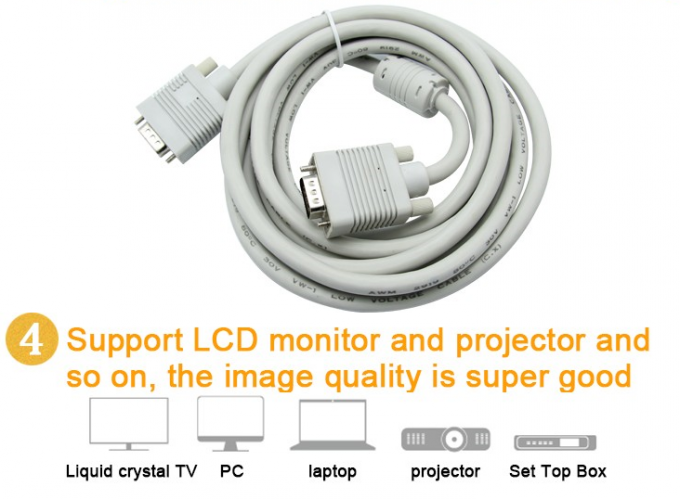 Projector LCD D-sub 15 Pin VGA Cable , PVC Insulated Coaxial Audio Cable