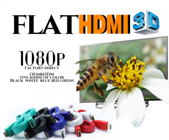 PVC Jacket 1080P 1.5M 1.4V Flat Hdmi Cable Gold Plated For DVD / HDTV