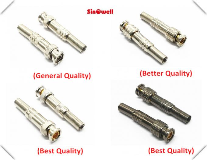 CCTV Male Straight BNC Cable Connector , BNC Solder Connector Copper Zinc Material