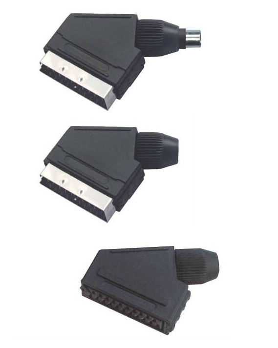 AC 1000 V / min 1 Amp RCA Cable Adapters 21 Pin Scart Connector PP Material